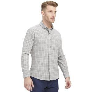 Mizzen+Main City Flannel Long Sleeve Button Down Golf Shirt Gray Multi Plaid