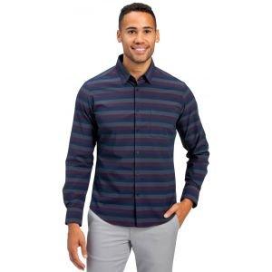 Mizzen+Main Leeward No Tuck Golf Dress Shirt - Navy Burgundy Horizontal Stripe