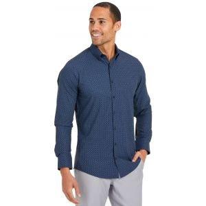 Mizzen+Main Lightweight Leeward Golf Dress Shirt Navy and Pink Geo Print