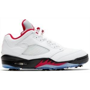 Nike Air Jordan V Low Golf Shoes - White/Black/Metallic Silver/Fire Red