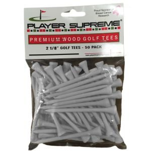 """Player Supreme White Golf Tees 2 1/8"""" 50 Pack"""