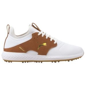 Puma IGNITE PWRADAPT Caged Crafted Golf Shoes White/Leather Brown/Team Gold