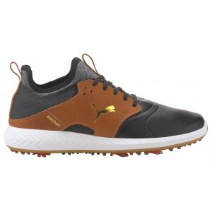 Puma IGNITE PWRADAPT Caged Crafted Golf Shoes Black/Leather Brown/Team Gold