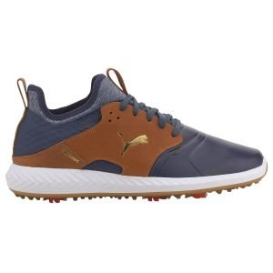 Puma IGNITE PWRADAPT Caged Crafted Golf Shoes Peacoat/Leather Brown/Team Gold