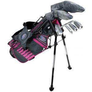 U.S. Kids UL45 6 Club Junior Golf Set Grey/Pink Bag