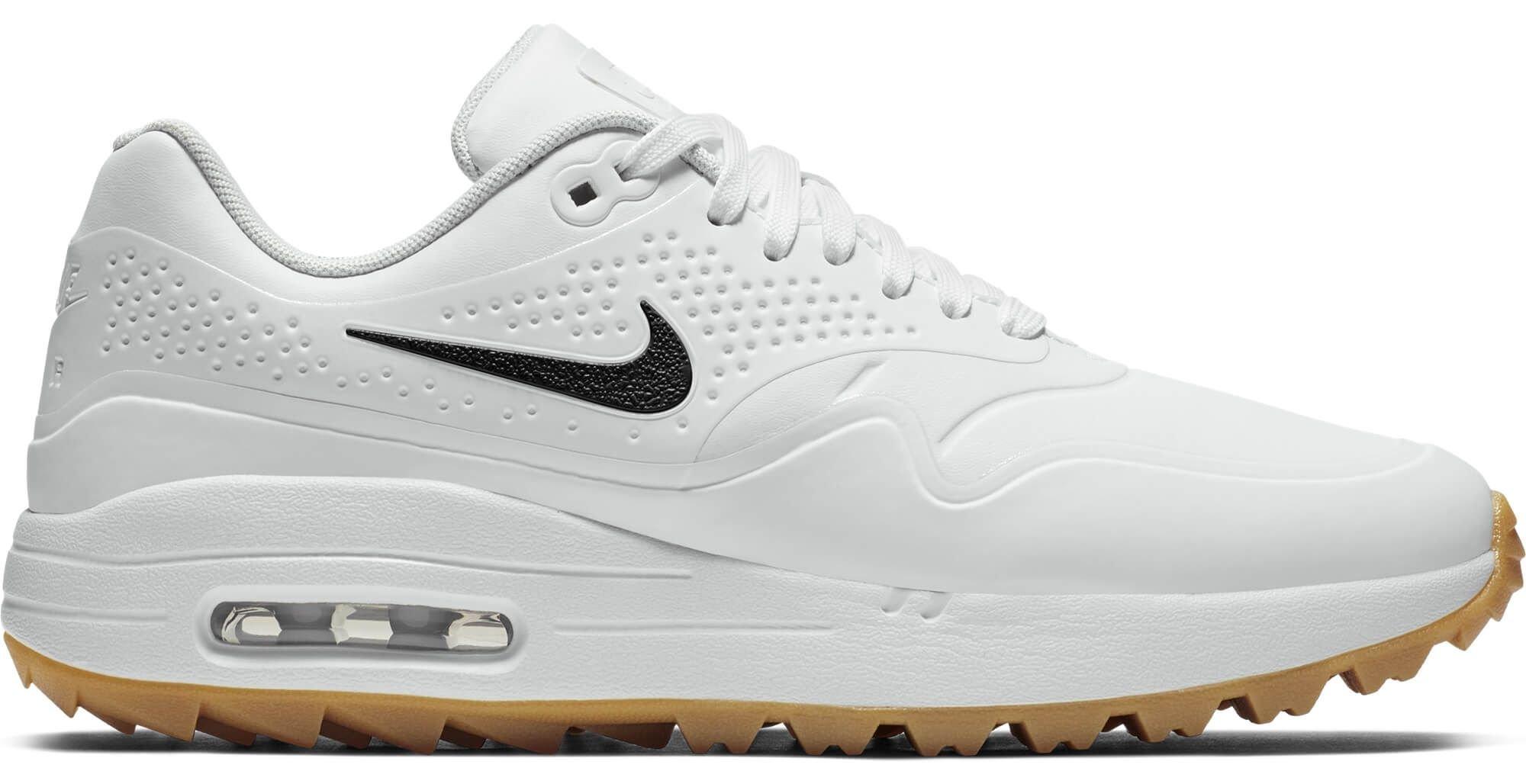 Nike Air Max 1 G Golf Shoes Contrast Swoosh White/White/Gum ...