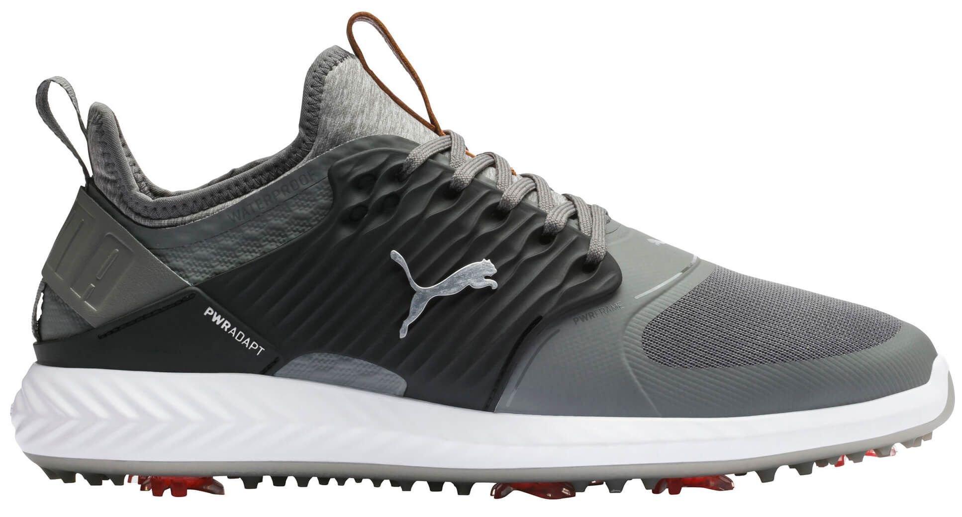 Puma Ignite PwrAdapt Caged Golf Shoes Quiet Shade/Black/Silver ...