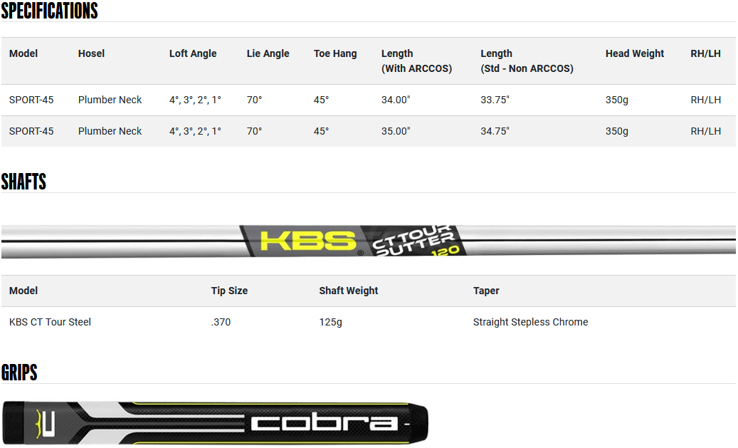 Cobra KING Vintage Series Sport 45 Putter Product Specifications