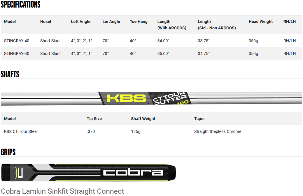 Cobra KING Vintage Series Stingray 40 Putter Product Specifications