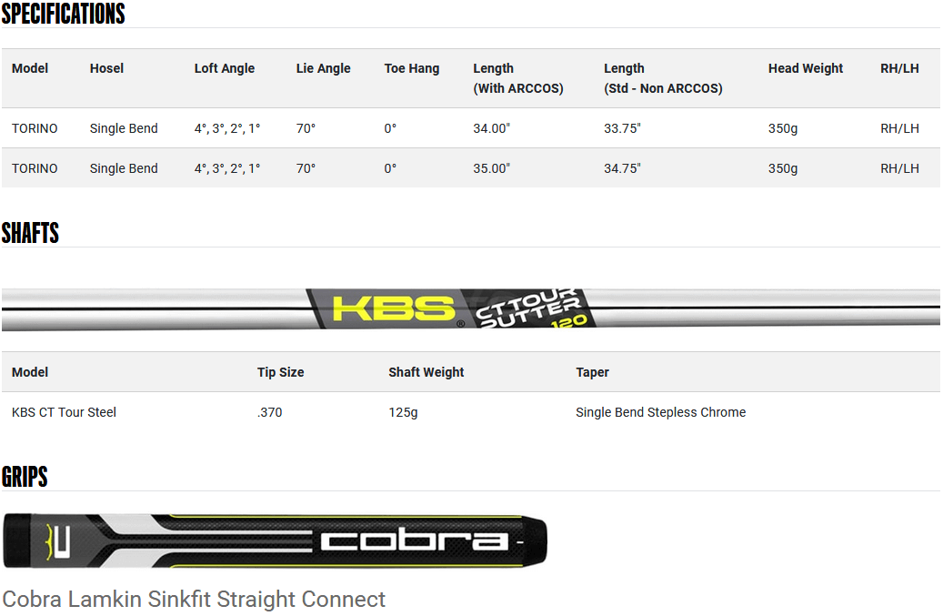 Cobra KING Vintage Series Torino Putter Product Specifications